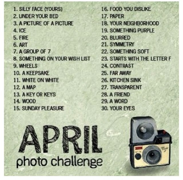 April Photo Challenges  I'm gonna try this again. I failed at march.