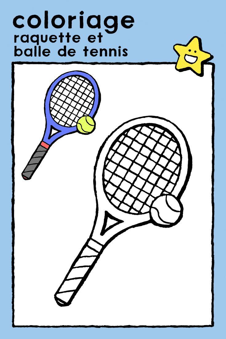 raquette et balle de tennis   kiddicoloriage   Coloriage ...