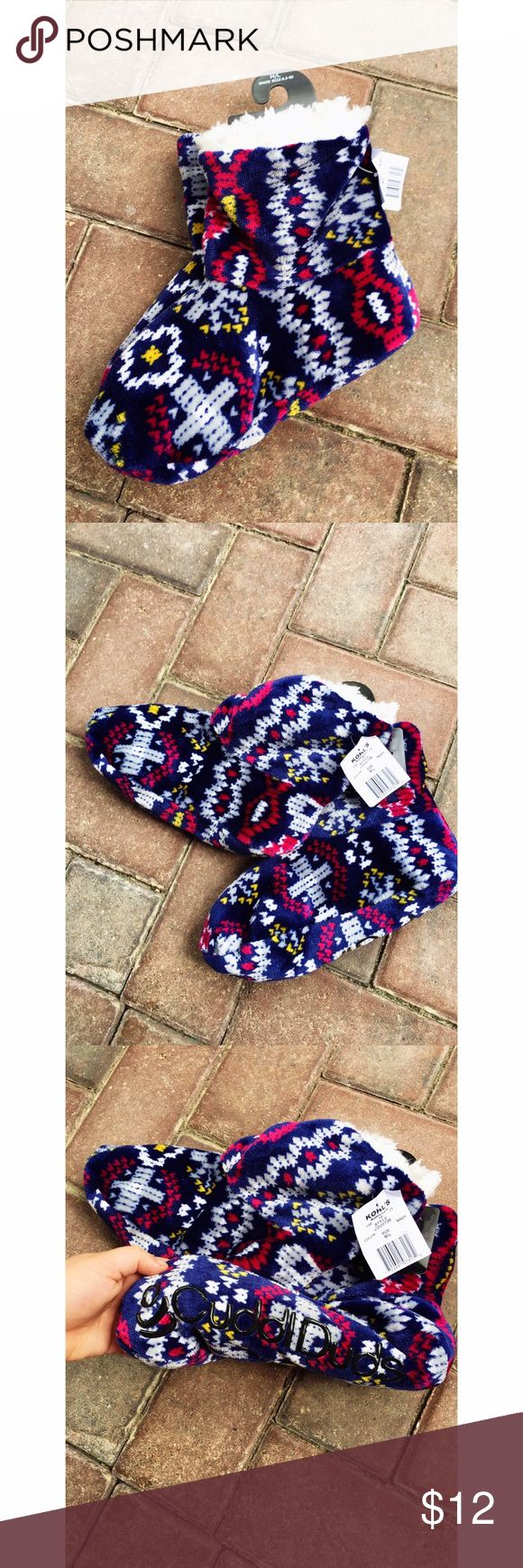 Fuzzy Slippers- NWT Fuzzy Slippers from Kohls - NWT - M/L Shoe Size 8.5-10 - Smoke & Pet & Pet Free Home 💕 Shoes Slippers