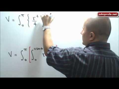 Volumen calculado con una Integral Doble en Coordenadas Polares: Julio Rios explica el siguiente problema: Encontrar el volumen del sólido bajo la superficie z=x²+y², encima del plano XY y dentro del cilindro x²+y²=2y.