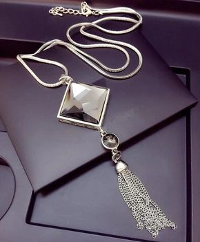 Top quality square crystal pendant long tassel necklace women fashion jewelry wholesale 2015 Silver Chain