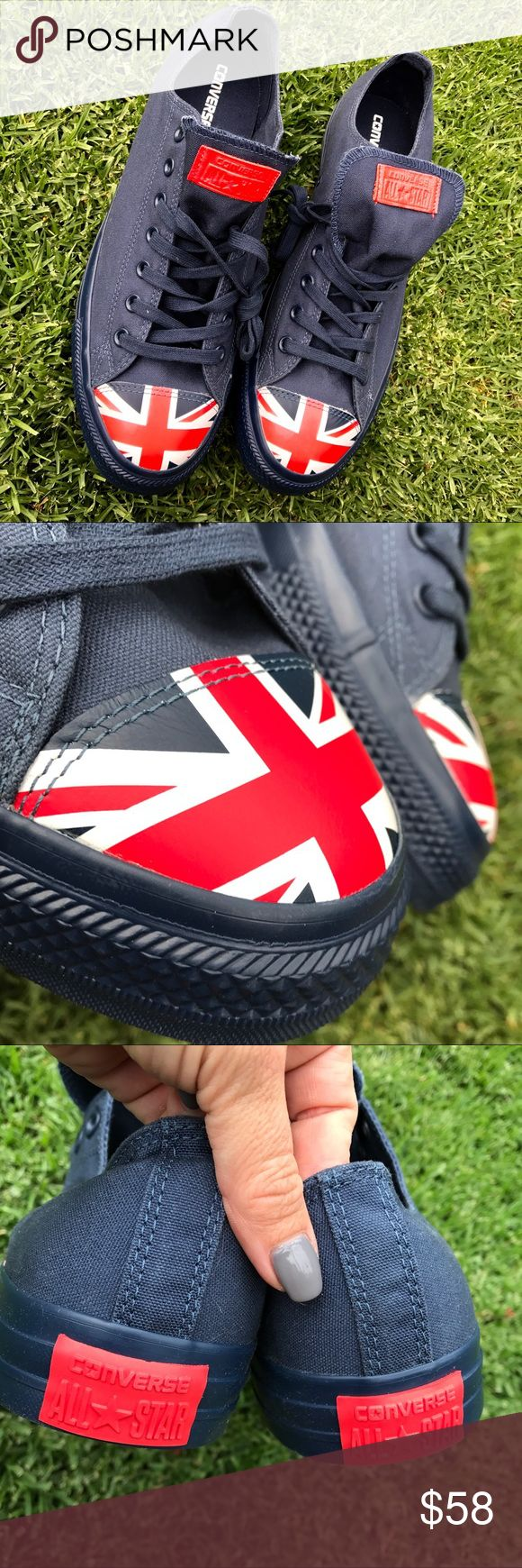 NWB 🇬🇧 UNION JACK LOW TOP CHUCKS SZ 13 MEN New never worn in original CONVERSE box size 13 MENS! ships same or next day from my smoke free home! Bundle items to save! 🇬🇧 AS ALWAYS... 100% AUTHENTIC & DIRECT FROM CONVERSE. Converse Shoes Sneakers