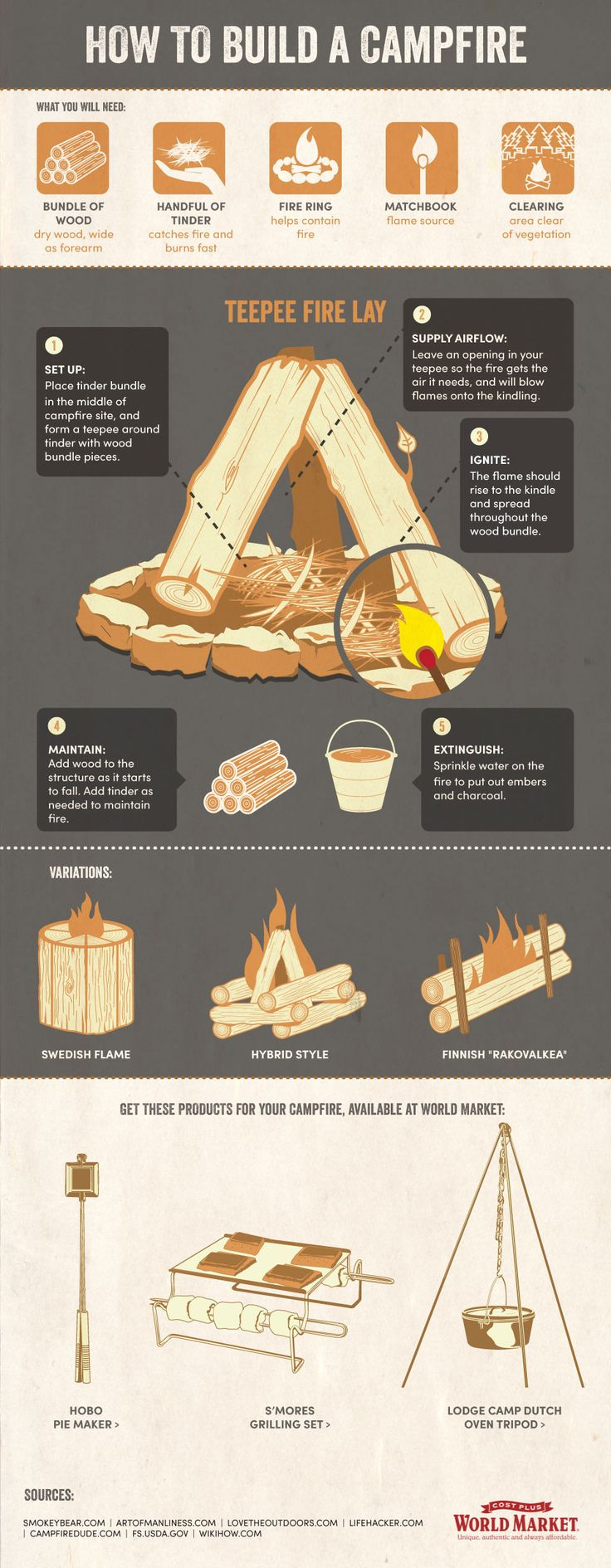 campfire infographic via cost plus world market / incorporates useful information with product in digestible content. For if Ben's not around to build me a campfire haha.