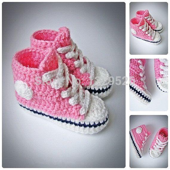 Розовый младенца вязания крючком кеды, Новорожденных крючком, Младенческой крючком пинетки, Девочка обувь, Сапоги для девочек, Душа ребенка