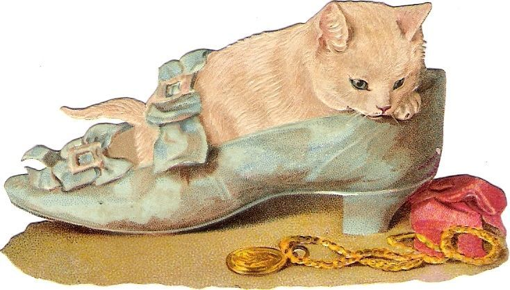 Oblaten Glanzbild scrap die cut chromo Katze cat kitten korb basket  Maguire ?