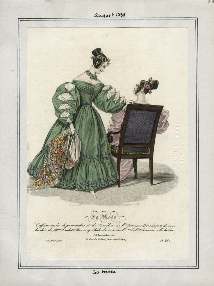 Los Angeles Public Library.  http://digital.lapl.org/ItemDetails.aspx?id=1917#  A clue to accessorizing the green silk satin dress, for instance.  From La Mode, August 1835.