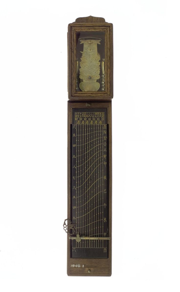Pillar clock, or shaku-dokei, with time pointer adjustable transversely to register with one of a number of hair scales corresponding to the month marked on a lacquered plate: Japan, before 1872
