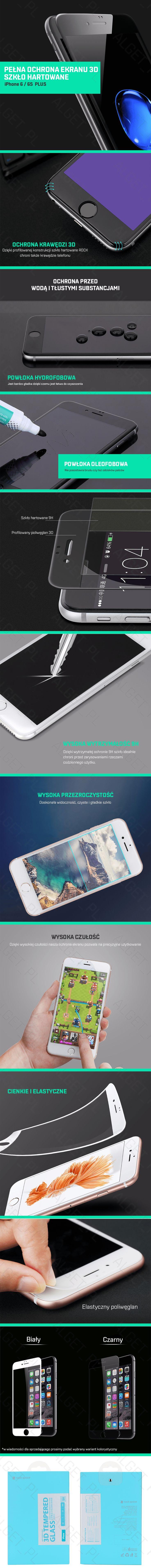 Przedmiotem aukcji jest pełne szkło hartowane 3D marki ROCK na wyświetlacz telefonu iPhone 6 PLUS oraz 6S PLUS. Model ten zakrywa w pełni cały ekran oraz zaokrąglone krawędzie dzięki czemu chroniona jest jego cała powierzchnia. Warstwa szkła hartowanego ma zaledwie 0,3mm grubości oraz cechuje go bardzo wysoka twardość (9H) zapewniając dodatkową ochronę dla Twojego telefonu. Idealna przezroczystość szkła nie zmienia wyświetlanego obrazu pozostawiając jasny i żywy obraz oraz nie powoduje…
