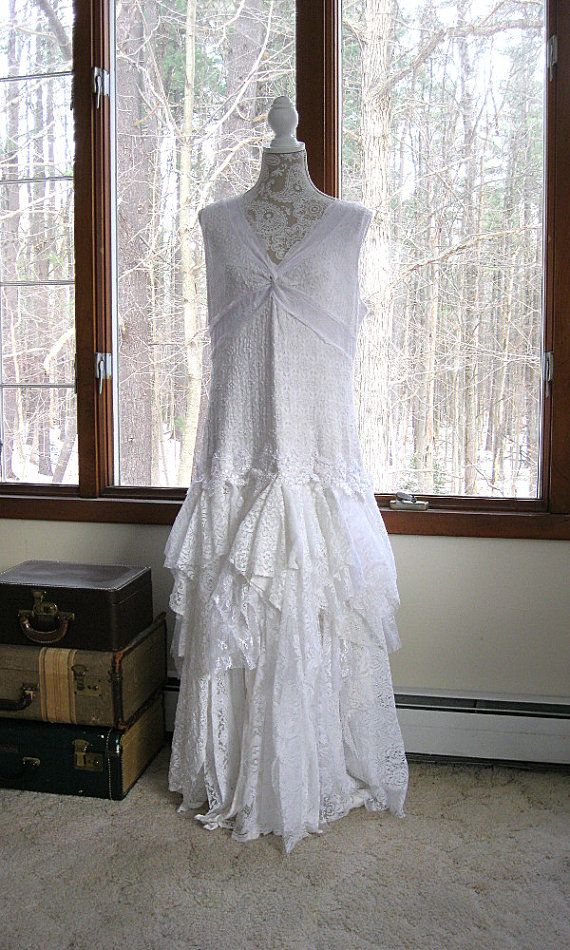 XXL White tattered wedding dress, boho bohemian hippie gypsy bride, Stevie Nicks, recycled/vintage laces, US size 20, Plus Size