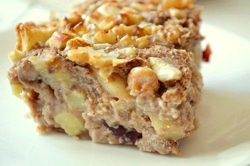 Appeltaart baked oats: havermout en kokosmelk