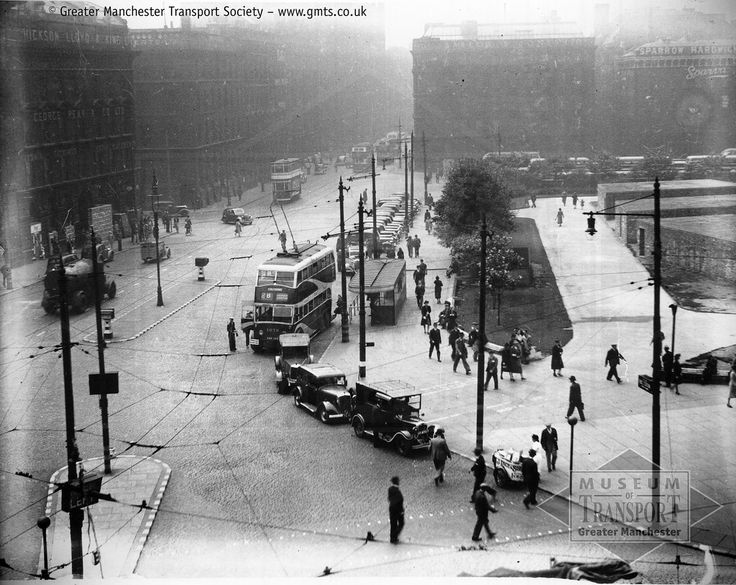 This is one of the most fascinating yet haunting photos in the collection of the Museum of Transport Greater Manchester. Taken from the Transport Department's Head Office at 55 Piccadilly, it shows Manchester Corporation trolleybus number 1079 picking up in Portland Street, Piccadilly Gardens, before setting off on the new trolleybus service to Stalybridge. In the foreground there is a 'stop me and buy one' ice cream seller from J. Rice & Sons; there are plenty of taxis about...