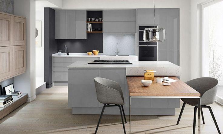 cuisine ouverte moderne îlot de cuisine bois tabourets table bois armoires cuisine