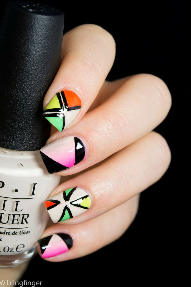 OPI Neon Collection 2014 - Mixed Nail Art  http://www.blingfinger.net/2014/05/opi-neons-2014-mixed-nail-art.html