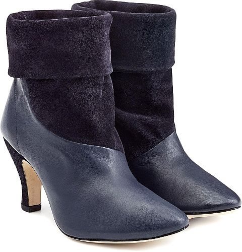 Repetto Shoes - Coated in smooth leather and supple suede, we love the sumptuous texture clash on these ink blue ankle boots from Repetto.  Navy leather and suede, round toe, leather insole and sole. - #repettoshoes #blueshoes