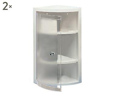 Set di 2 mensole angolari doccia in polipropilene Rugiada bianco, 21x49x21 cm