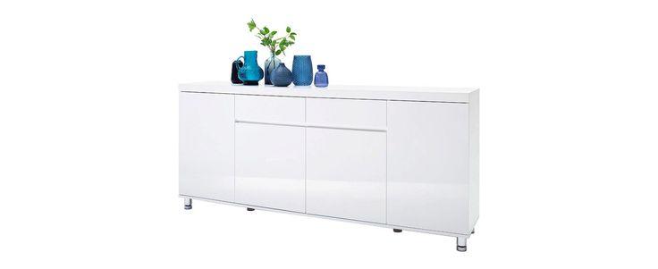 SIDEBOARD Hochglanz Weiß - Chromfarben/Weiß, MODERN, Holzwerkstoff/Metall (190/83/40cm) - XORA