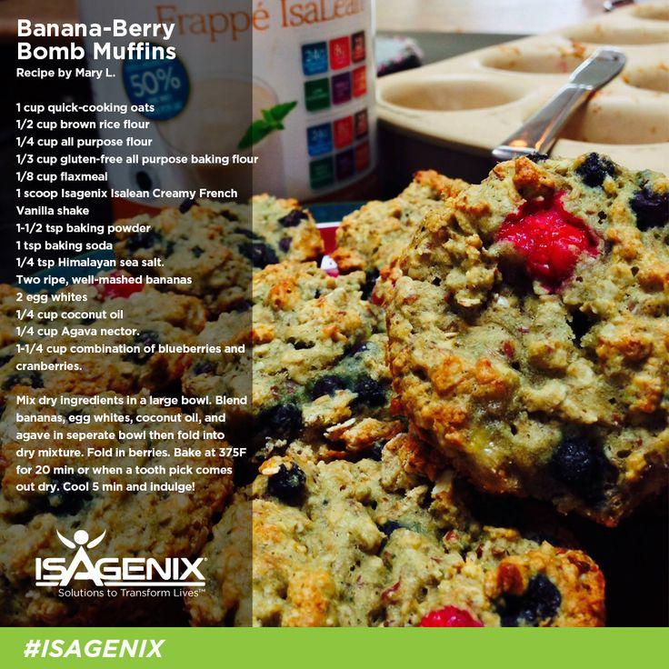 Whey Protein Banana-Berry Muffins #isagenix #healthyrecipes