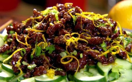 This crispy beef (chicken instead?) is served with an orange sauce and sprinkled with orange zest. via food network uk by Ching-He Huang