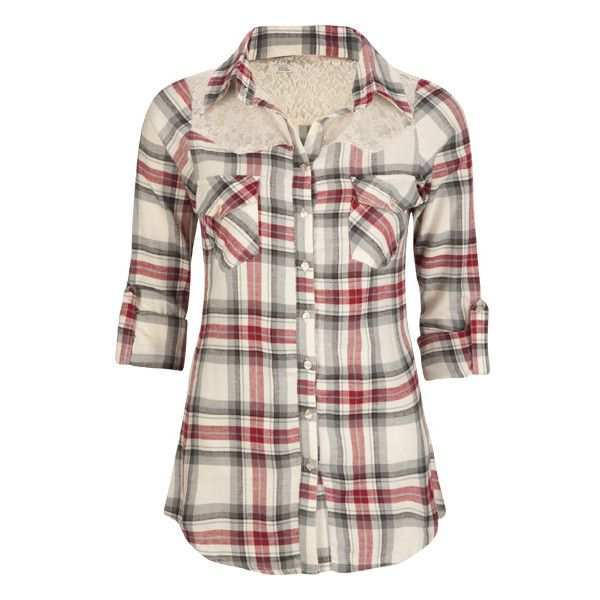 FULL TILT Lace Shoulder Womens Flannel Shirt | ❤ liked on Polyvore featuring tops, long sleeve tops, sheer shirt, transparent shirt, sheer top and sheer long sleeve top