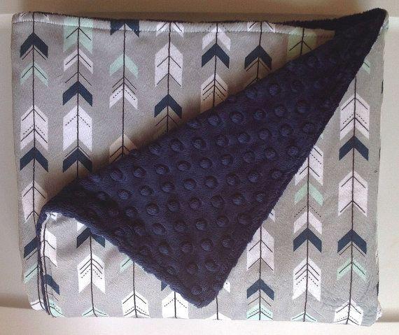 Tribal Arrow Baby Boy Minky Blanket-Navy Gray Mint-Designer Fabric-Baby Shower Gift-Bedding-Modern Aztec Southwest Nursery