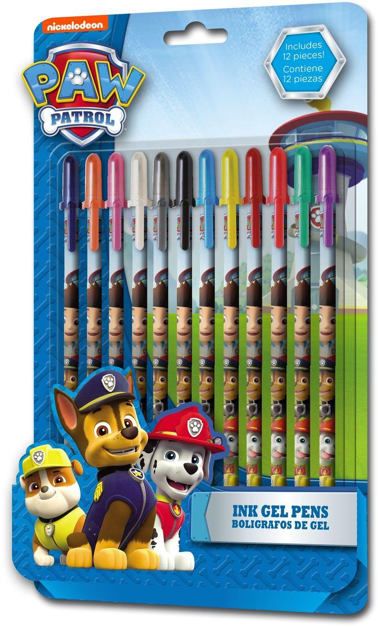 Gelpennen Paw Patrol: 12 stuks. In deze set zitten 12 hoge kwaliteits gel pennen inbegrepen, waaronder paars, oranje, roze, wit, grijs, zwart, blauw, geel, donker rood, rood, groen en paars in het thema van Paw Patrol .   Afmeting: volgt later.. - Gelpennen Paw Patrol: 12 stuks