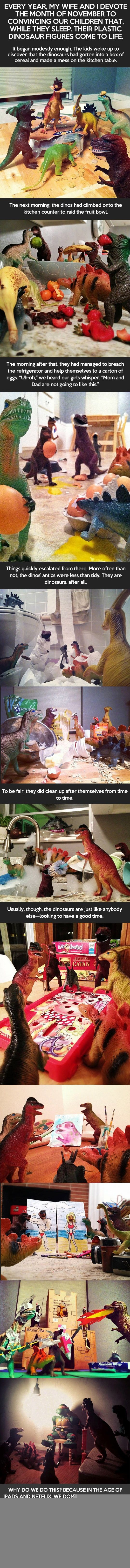 While Their Kids Sleep, These parents Pull Of This Amazing Stunt - dinos come to life