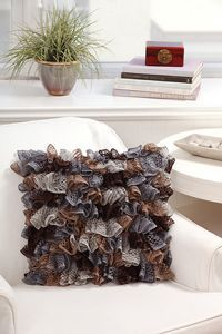 Ruffle Pillow - ruffle yarns can make more than the twirly scarves! Free pattern!