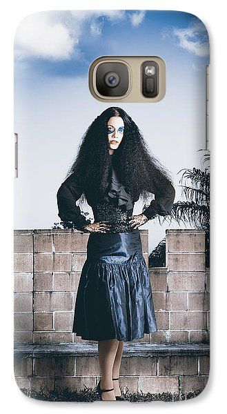 Woman Galaxy S7 Case featuring the photograph Attractive Woman In Jester Make-up In Courtyard by Jorgo Photography - Wall Art Gallery
