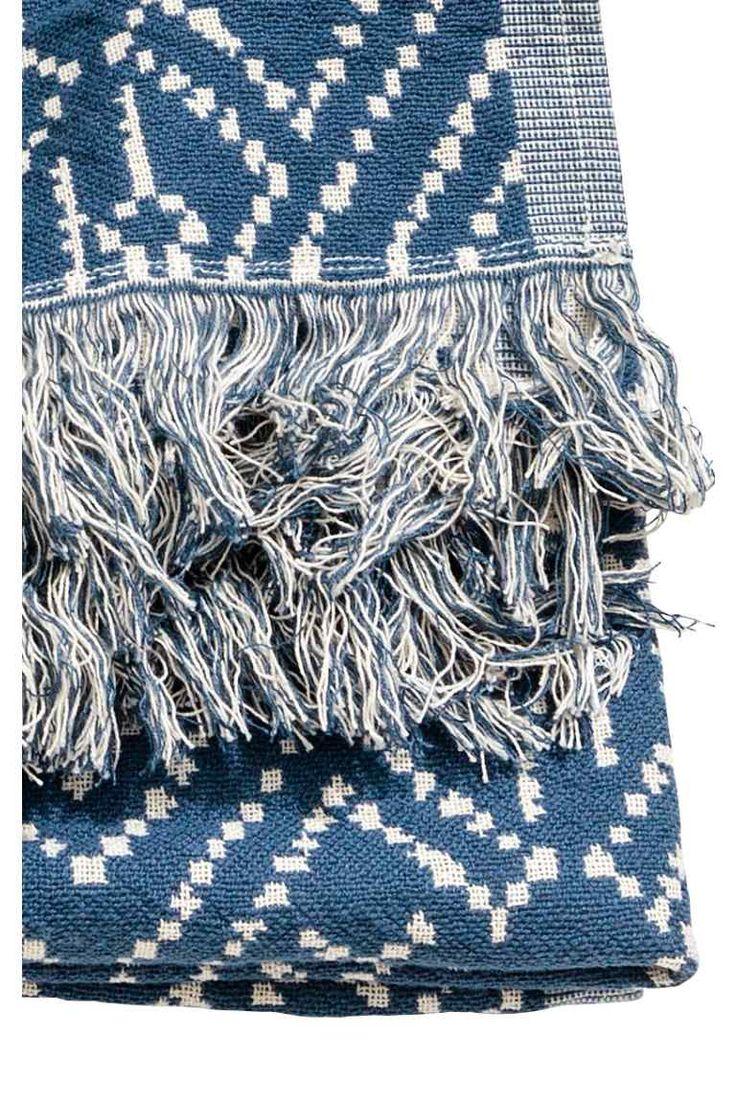 Plaid fantasia - Blu scuro/bianco naturale - HOME | H&M IT