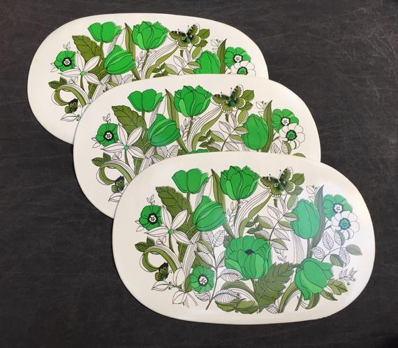 60 S Vinyl Pacemats X3 Three Green Poppy Flower Floral Placemats Floral Placemats Poppy Flower Poppies