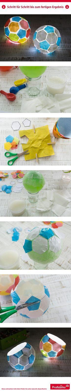 Einfache Technik, große Wirkung! Fußball-Lampe // Mit Luftballon und Kleister können kleine und große Fußballfans dieses Lämpchen nachbasteln. // // Eine Schritt-für-Schritt Anleitung finden Sie auf dm.de/profissimo-kreativ // #ProfissimoKreativ #basteln #Idee #Kreativ #DIY
