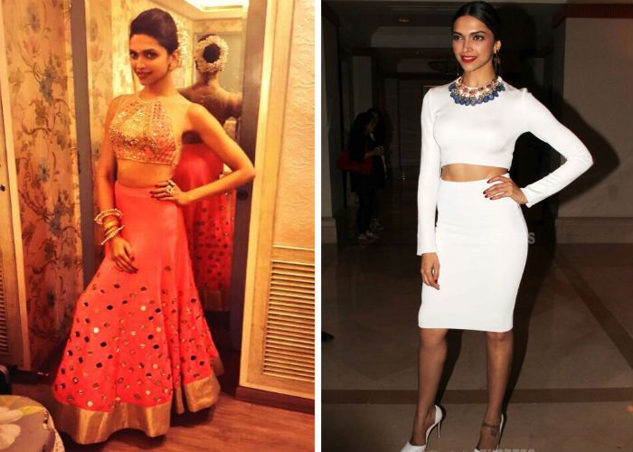 Given that she has a beautifully toned body, Deepika is known to flaunt her mid-riff be it in ethnic lehengas or sexy crop tops. For her performance at the Screen Awards 2014, Deepika wore a gorgeous neon orange lehenga by Mayyur Girrotra with a nude sheer blouse featuring mirror work.  For another formal outing, Deepika was absolutely ravishing in a in a cropped Zara top with a matching pencil skirt and Louboutin stilettos.