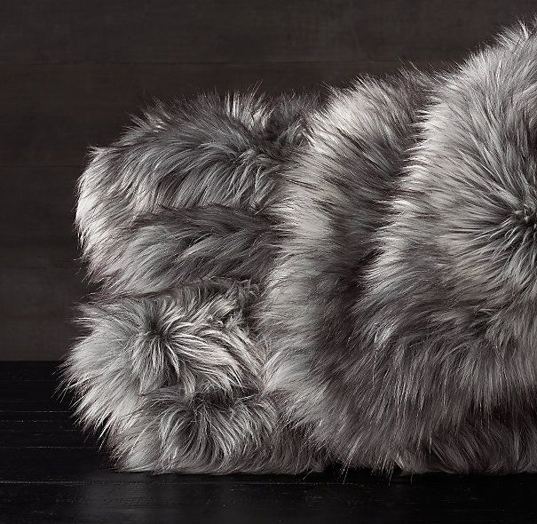 exotic faux fur blanket in siberian gray fox - Faux Fur Throws