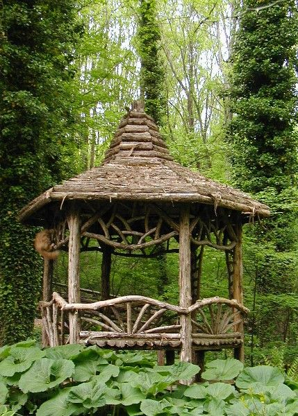 Rustic gazebo - inspiration for my wood. http://gazebokings.com/100-best-wooden-gazebos-for-sale/