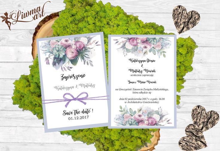 zaproszenie kwiatowe kwiaty zaproszenie boho ślub wesele weddingstyle wedding invitation with flowers grey szary róż pink