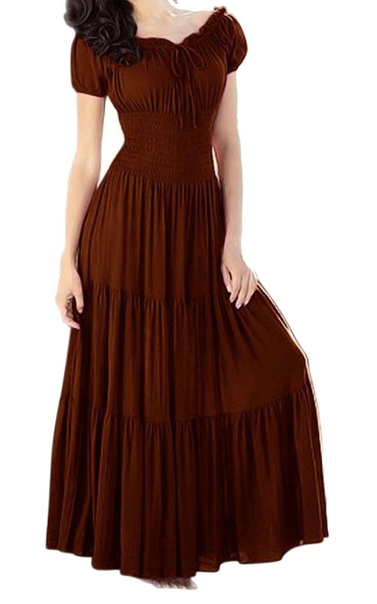 Meaneor Women S Smocked Peasant Dress Full Circle Skirt