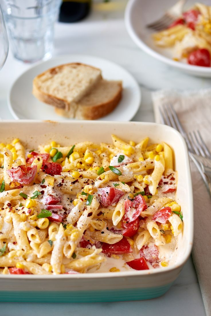 Recipe: Creamy Ricotta Corn and Tomato Baked Ziti — Quick and Easy Vegetarian Dinners