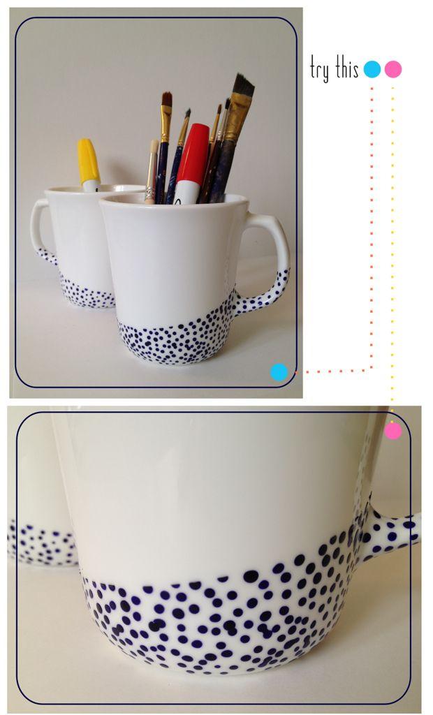 DIY - Painted Ceramic Mugs using Pebeo Porcelaine 150 paint. Full Step-by-Step Tutorial.