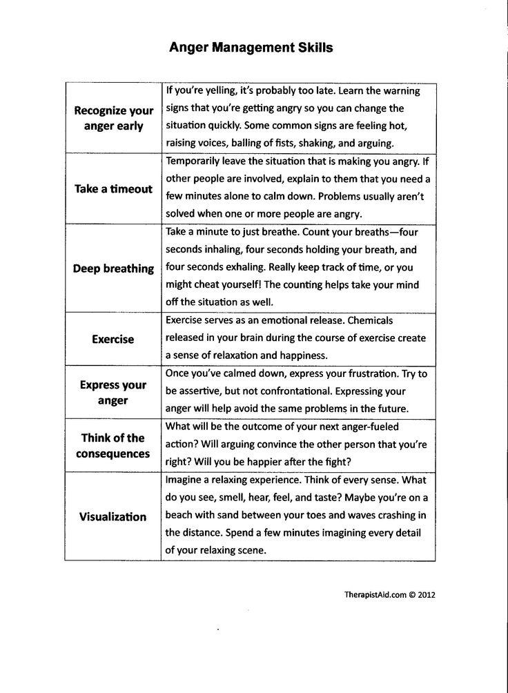 Anger Management Skills #mentalhealth #anger #copingskills ...