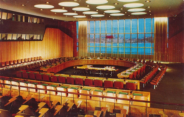 Economic and Social Council Chamber, United Nations - New York, New York - designed by Sven Markelius of Sweden