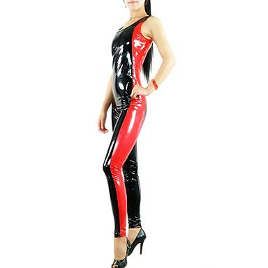 Sleeveless Red and Black Mixed Color Shiny Metallic Women PVC Catsuit