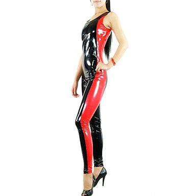sin mangas de color rojo y negro mezclados metálico brillante mujer de pvc catsuit – EUR € 32.29