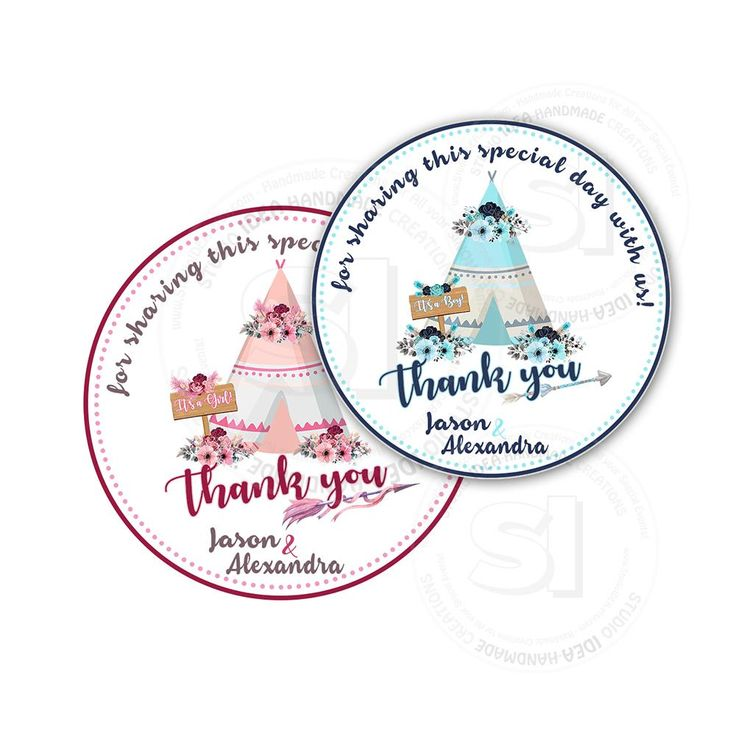 "Custom Printable Teepee Theme baby Shower Tags - Boy or Girl Baby Shower Thank you 2.5"" Tag- DIY Personalized  tags- Digital file"