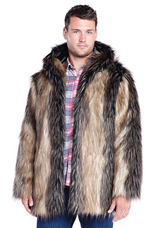 c2005edfcda7 Men's Pieced Fox Hooded Faux Fur Jacket - 1 | faux fur | Fur jacket ...