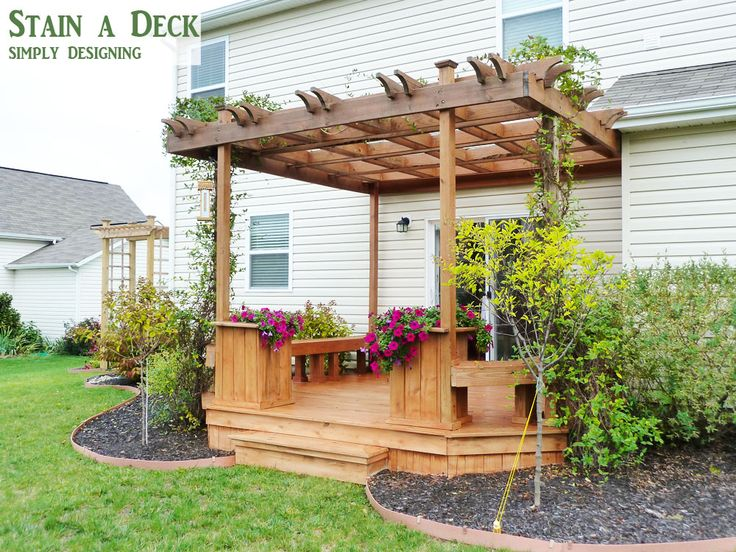 How to Stain a Deck and Pergola - Simply Designing with Ashley