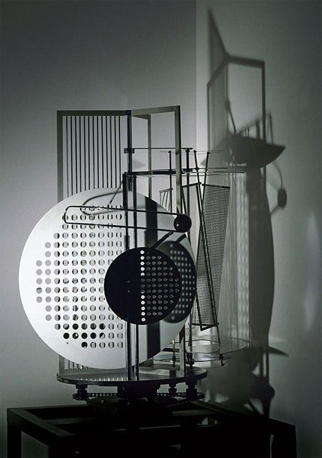 László Moholy-Nagy, pioneering Hungarian designer/photographer/film maker/painter of the Bauhaus movement, designed the Light Space Modulator (1922-30), to create pools of light and shadow so he could study their movement.