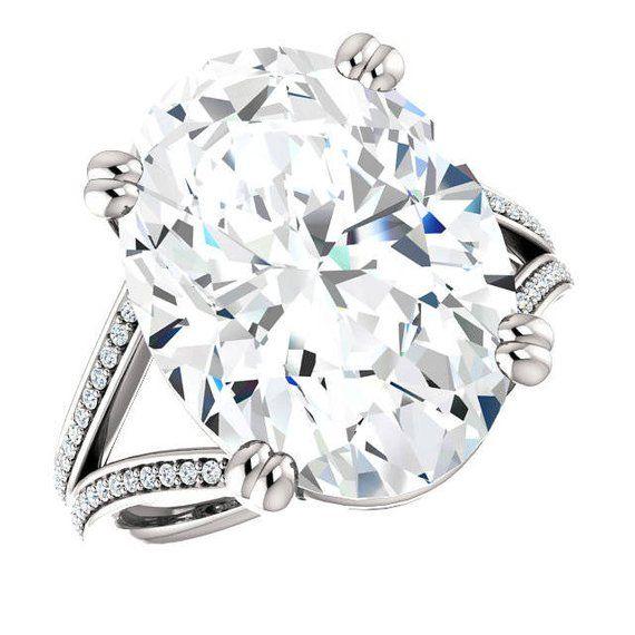 11 Carat Oval Supernova Moissanite Diamond Split Shank Engagement Ring 18x13mm Oval Moissanite Rings Custom Wedding Rings For Women Split Shank Engagement Rings Wedding Rings For Women Stylish Rings