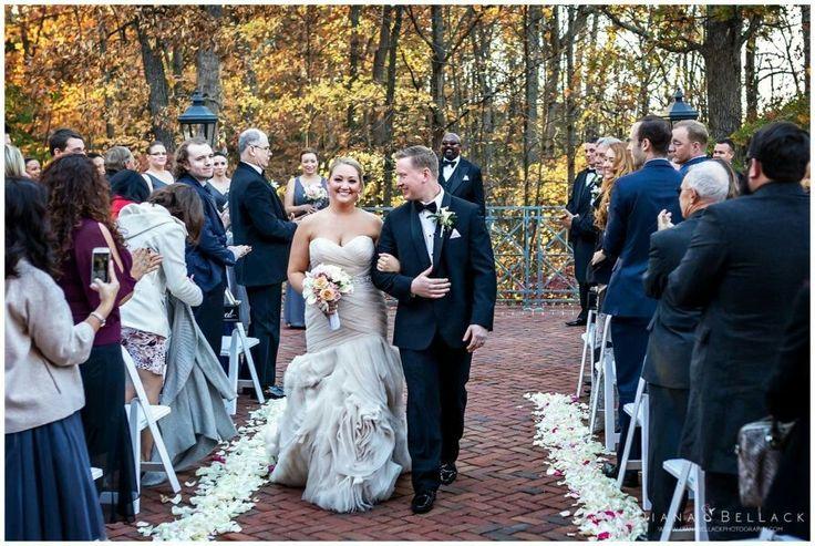 Diana Bellack Photography, Virginia Wedding Photographer, Chantilly VA wedding photographer, rose gold wedding, Westfields Marriott, pastel pink bouquet, rose gold wedding dress, classic wedding couple, Fall wedding, wedding details, recessional