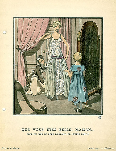 Jeanne Lanvin; Evening gown and blue child's dress by Jeanne Lanvin; also…