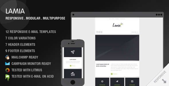 180 Absolute Best Responsive Email Templates - LAMIA - 12 responsive e-mail templates